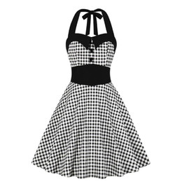 1950 Gingham Halter-Partei-Kleid-Knopf Damenkleidung Pin Up Robe Sexy Backless Retro Plaid Weinlese-Frauen-Kleid Ropa Mujer