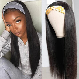 venda por atacado Ishow peruca de cabelo humano com corpo headband wigband wig para a máquina de cor natural afro-americana feita faixas de cabeça de perucas não-rendas