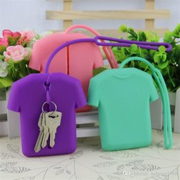 cute pouch bag UK - Silicone Clothes Key Pouch Keychain Card Keys Holder Chain Cute Gifts Storage Girls Coin Bag Friendly 3 5xh