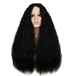 girl cosplay long black hair UK - Women Long Kinky Curly Wigs Black Brown Middle Part Heat Resistant Hair Synthetic Wig