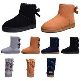 purple martin boots UK - Fashion Women boots for girls Short Mini Classic Knee Tall Winter Snow Boots Bailey Bow Ankle Bowtie Black Grey chestnut size 5-10