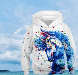 Wholesale oversized girl sweaters for sale - Group buy New European And American Rainbow Horse D Digital Printing Children s Sweater Men s And Women s Sports Baseball Uniform Oversized Top