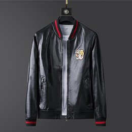 Wholesale men faux coat resale online - tiger Faux Leather jacket mens Zipper Slim Fit Short hip hop Casual designer Motorcycle coat black Biker man fashion luxury Fitness clothing