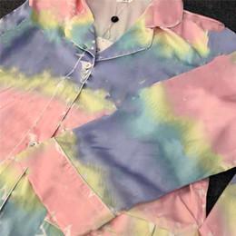 Wholesale womens designer shirts for sale – custom Luxury Old Flower Print Women Pyjamas Autumn New Silky Womens Sleepwear Loose Casual Girls Shirts Home Clothing High Quality