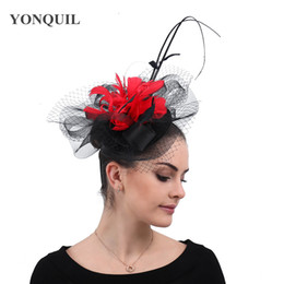 Wholesale red tulle hat for sale - Group buy Black with red fashion wedding mesh headwear for elegant female formal fedora cao flower fascinator ladies tulle hat hair clip