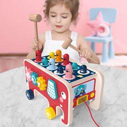 Venta al por mayor de Whack-A-Mole juego elefante de dibujos animados de juego de madera de hámster digital del coche laberinto juguetes engranaje giratorio para niños de educación temprana