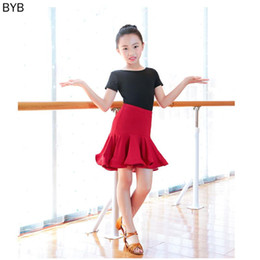 kids salsa dancewear NZ - 2PCS Girls Latin Stage Competitions Practice Dance Dress Kid Leotard Skirt Ballroom Tango Salsa Tassel Performance Dancewear Set