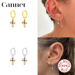 sterling silver cross dangle earrings Canada - Canner Hot Sale 925 Sterling Silver Dangle Earrings Colorful CZ Cross Hanging Earrings For Women Fine Jewelry pendientes 2020 W5