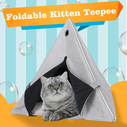 cage kennels Australia - Foldable Kitten Teepee with Washable Soft Cushion Portable Indoor Cat House Tent Small Animals Bed Puppy Cage Kennel Save Place