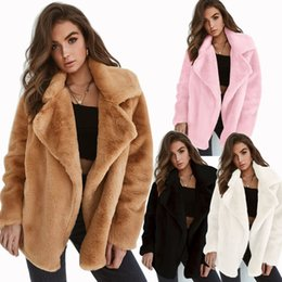 Wholesale 2020 Winter Fashion Coats woman Autumn Winter Loose Plus Size Wool Coat Sweater Cloak Fur Collar Bat Overcoat Coats for Women's Jacket A101