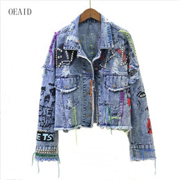 Wholesale woman jackets coats resale online - New Women s Denim Jacket Coat Spring Jean Jackets Women Coats Female Denim Jacket Graffiti Rivet Jacket Girl Outerwear Blue