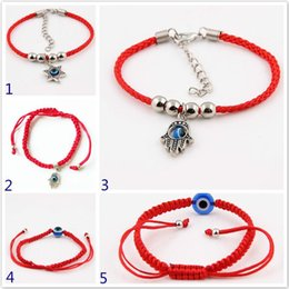 diamond fatima hand Australia - Cgjxs Hand Of Fatima Evil Eye Charm Bracelet Red Black String Braided Rope Friendship Bracelet