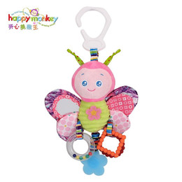 toys happy monkey Canada - Colorful Happy Monkey Baby Bed Bell 0-12 Months Infant Plush Toy Hanging Cartoon Animal Rabbit Bee For Kid Early Education