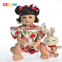 "hot girls model Australia - Hot Sale 22"" 55 cm Silicone Full Body Reborn Baby Doll Toy For Girl Princess Babies Toy Wear Rose Romper Children Birthday Gift Y200413"