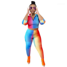rainbow tshirts NZ - Women Fashion Sport Sets Womens 2pcs Rainbow Striped Tracksuits Woman Autumn V-neck Zipper Short Tshirts With Pencil Pant Suits