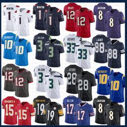venda por atacado Tom Brady Lamar Jackson 1 Cam Newton Jersey Herbert Russell Jamal Wilson Adams TampaBay New EnglandSeahawksRavensPatriota