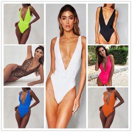 Wholesale deep swimwear for sale – plus size Sexy Deep V One Piece Swimsuit with Belt Padded Swimwear Women Summer Designers Backless Bathing Suit Solid Color Monokini Beachwear LY9112