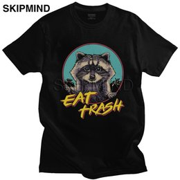 panda tee UK - Kawaii Male Funny Raccoon Cat T Shirts Short Sleeve Cotton Possum Panda Tshirt Casual Eat Trash Tee Slim Fit Tops Clothes Gift