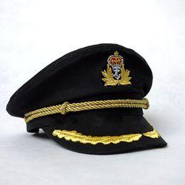 Wholesale sailor costumes for women for sale – halloween Men Hats Sailor Captain Hat Black White Uniforms Costume Party Cosplay Stage Perform Flat Navy Cap For Adult Men Women