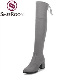 Discount look shoes Smeeroon thigh high boots woman look slimmer round toe flock over the knee boots zipper high quality winter womens shoes
