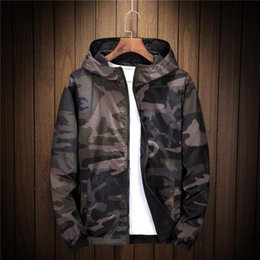 mens reversible jackets NZ - New Spring Autumn Thin Windbreaker Jacket Mens Reversible Camouflage street couple Jacket Coat Young Male Hooded bomber Outwear