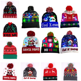 santa beanies Australia - Christmas LED Knitted Beanie Hat Night Light Up Hats Santa Claus Snowman Reindeer Elk Pattern Luminous Hats with Pom Ball Crochet Caps D9908