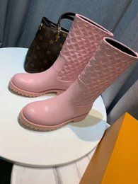 ostrich color dresses Australia - Pink embossed leather casual all-match boots Women Riding Rain Boot BOOTS BOOTIES SNEAKERS Loafers Ballerinas Dress Shoes