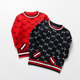 Kids Designer Knit Pullover Boys Letter Knitting Sweater Kids Stripe Round Collar Long Sleeve Pullover Children Casual Jumper S590 on Sale