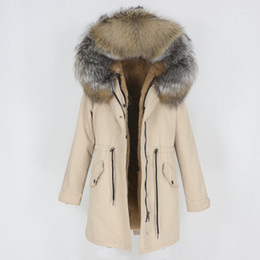 Wholesale fox fur trimmed coat for sale - Group buy OFTBUY New Waterproof Long Parka Winter Jacket Women Coat Real Natural Fox Raccoon Fur Hood Outerwear Detachable Streetwear T200908