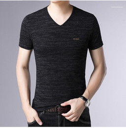 Wholesale fashionable mens polos for sale - Group buy Summer Slim Mens Designer Polos Solid Color Short Sleeve V Neck Fashionable Tees Letters Printed Breathable T Shirts Plus Size