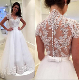 maternity wedding dresses Canada - Modest White Lace Wedding Dresses New Maternity Women Princess Bridal Gowns Illusion Back Covered Buttons Court Train Spring