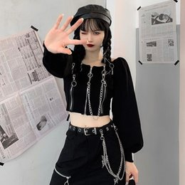 Wholesale korean black cosplay for sale – custom autumn black goth long sleeve crop tops women korean kpop vintage square collar white solid woman t shirts punk gothic cosplay