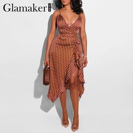 Wholesale sexy red polka dot dress for sale - Group buy Glamaker Polka dot ruffle red boho dress Women v neck pleated bodycon dress Female spring summer elegant party beach sexy dress