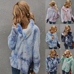 Wholesale sherpa pullover online – oversize Women Clothes winter tie dyed wool sweater Sherpa Fleece Warm Plush Furry Pullover Sweaters Half Zipper Blouses Outwear Tops D91712
