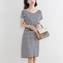 Discount elegant striped dresses for women Hot Sale Closed waist black striped T-shirt dress for women 2020 new summer elegant short sleeve long skirt T-shirt long