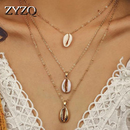 bulk linked chain UK - ZYZQ Triple Layered Necklace For Women Summer Accessories Sea Shell Conch Shaped Pendant Wholesale Lots&Bulk Jewelry Necklace