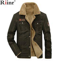 Wholesale jacket military for sale – winter RIINR Men Jacket Coats Winter Military Bomber Jackets Male Jaqueta Masculina Fashion Denim Jacket Mens Coat