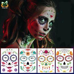 venda por atacado Eco-friendly Waterproof Decor Dia das Bruxas Props Tatuagem Temporária Adesivos Cara Etiqueta Atmosfera Masquerade Falso Rosto Tatuagens Body Art