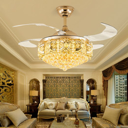 Discount crystal ceiling fan lights LED Crystal Ceiling Fan Light Restaurant Lotus Silent LED Luxury Ceiling Fans with Lights