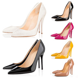 Wholesale womens black dresses for sale - Group buy black fashion luxury red bottom high heels for women party wedding nude yellow glitter spikes Pointed Toes Pumps womens dress shoes