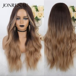 long light brown wig bangs UK - JONRENAU Synthetic Wigs with Bangs Light Brown Mixed Blonde Long Natural Wave Hair Party Wigs for White Black Women
