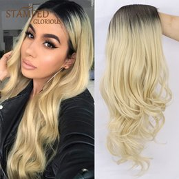 black blonde ombre wig NZ - Stamped Glorious 26inches Natural Wave Middle Part Long Wig Ombre Black Blonde Heat Resistant Synthetic Wigs for Black Women