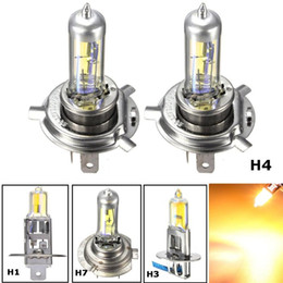 h1 yellow bulb UK - H1 H3 H4 H7 55W Yellow LED Car Light Halogen Lamp Bulb Car Styling HeadLight Lamp Xenon Fog Lights Dipped Beam