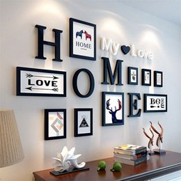 wooden photo frames NZ - 9pcs lot Picture Frames HOME My love letters Wooden Photo Frame Set Wall Decoration Handmade Photo Frame Home Decor Marco Fotos 4l2m#