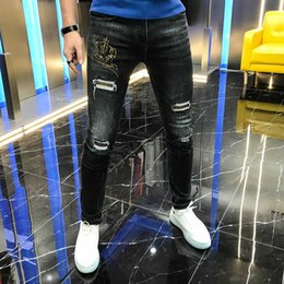 Wholesale jeans fashion trends resale online - Autumn new style young men s fashion fashion hole hot drill simple casual versatile jeans elastic slim trend men