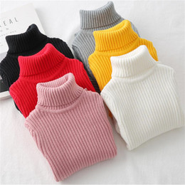 hand knit baby clothes UK - LILIGIRL Baby Girls Winter Turtleneck Sweater Colthes 2018 Autumn Boys Children Clothing Pullover Knitted Solid Kids Sweaters