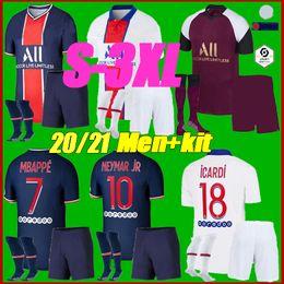 venda por atacado Homens kit 2021 PSGCamisa de futebol 2020 2021 DI MARIA Mbappé NEYMAR homens JR define ICARDI Maillots de futebol kits camisa do uniforme