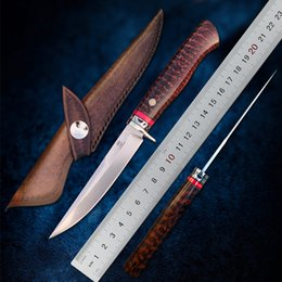 Wholesale TURENZ-M390 Steel Fixed Blade Knife Snakewood Handle Fish Knife Tactical Knives Camping Survival Tools Fruit Knives with sheath