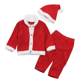 long baby santa hat Australia - Baby Girls Boys Outfits Children Santa Claus Top+pants with Hat 3pcs set Fashion Christmas Kids Clothing Sets
