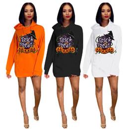 Wholesale sections sweatshirt hoodies online – oversize Womens Halloween Hoodies Fashion Trend Pumpkin Pattern Long Sleeve Pullover Sweatshirts Designer Female Loose Casual Long Section Hoodies
